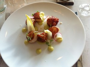 The freshest little pan-seared spicy scallops with green apple puree and endive leaves