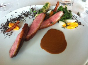 Salty-sweet duck breast served with a brown butter jus and a little duck-stuffed crepe on the side just cuz why not