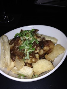 and holy mother of Canada.. a yucca fry poutine with a demi glace gravy and cheese curds. WHAT THE HELL