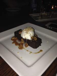 ...and for dessert, a chocolate brownie with bourbon caramel sauce and peanuts