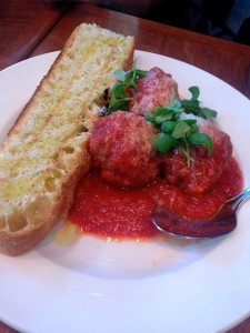 saucy meatballs and house-made bread toasted and slathered in olive oil (marry me)